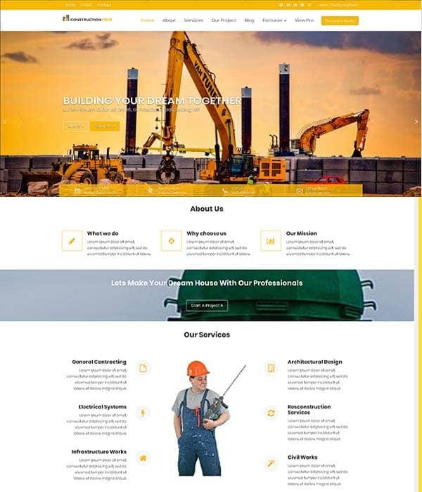 Construction企业产品展示wordpress外贸英文主题